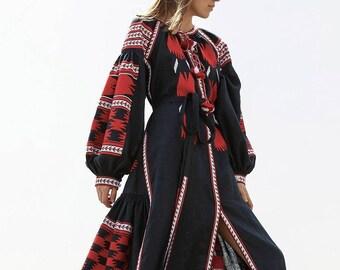 Ukrainian dress Vyshyvanka Linen embroidered dress Long Summer dress Party dress Arabic kaftan Boho dress Abaya Mexican dress  plus size
