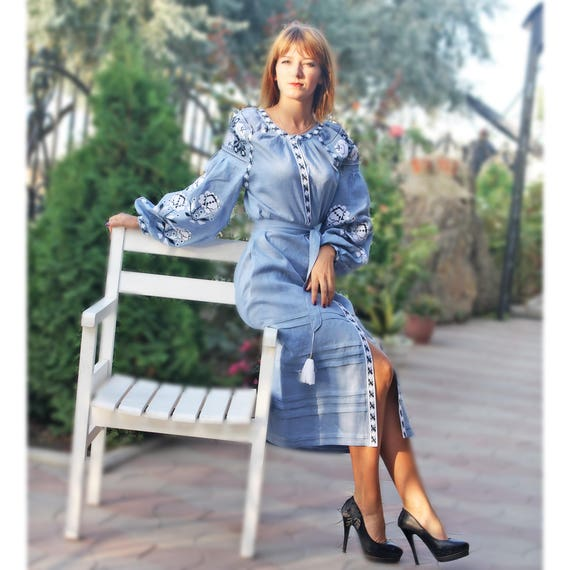 Long Ukrainian dress embroidered Blue Dress style midi Mexican Abaya linen Long wish sleeves Caftan ethnic vyshyvanka Embroidered bohemian YBIxd