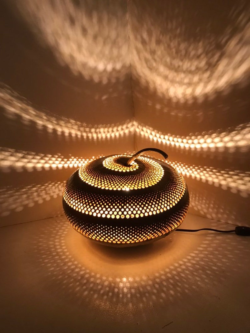 Unique Handmade Eclectic Home Decor Lighting Large Spiral Gourd Lamp