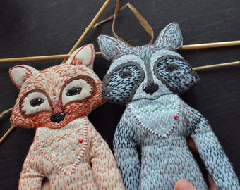 Raccoon and fox toys, Forest animal toys, Toys  of Woodland.