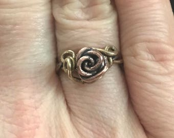Rose Vine Ring ~ Size 6 ~ Mixed Metal ~ Solid Copper ~ Solid Brass ~ Handcrafted Jewelry