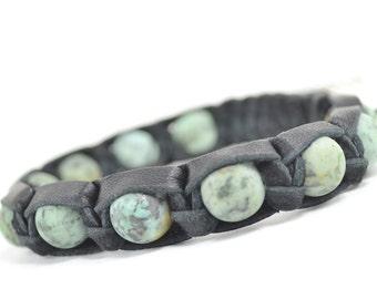 Mens bracelet Nephrite Bronzite Men bracelet Leather bracelet Mens stone bracelet Shamballa Men/'s bracelet Women/'s bracelet Mens talisman