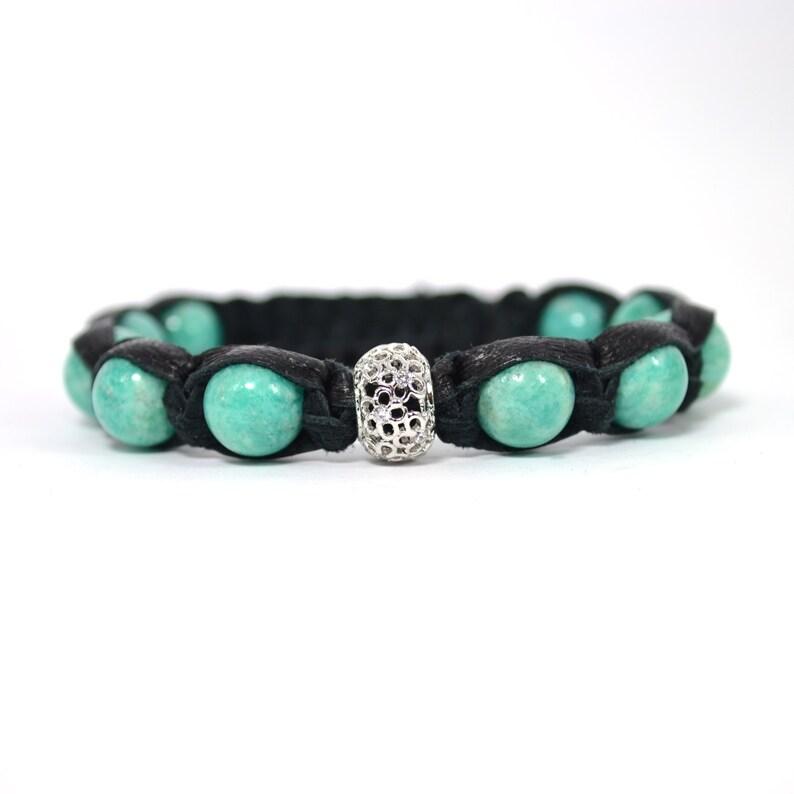 Amazonite Leather bracelet Shamballa Women/'s bracelet Minty bracelet Healing amulet Talisman Energy bracelet Natural stones Gift for women