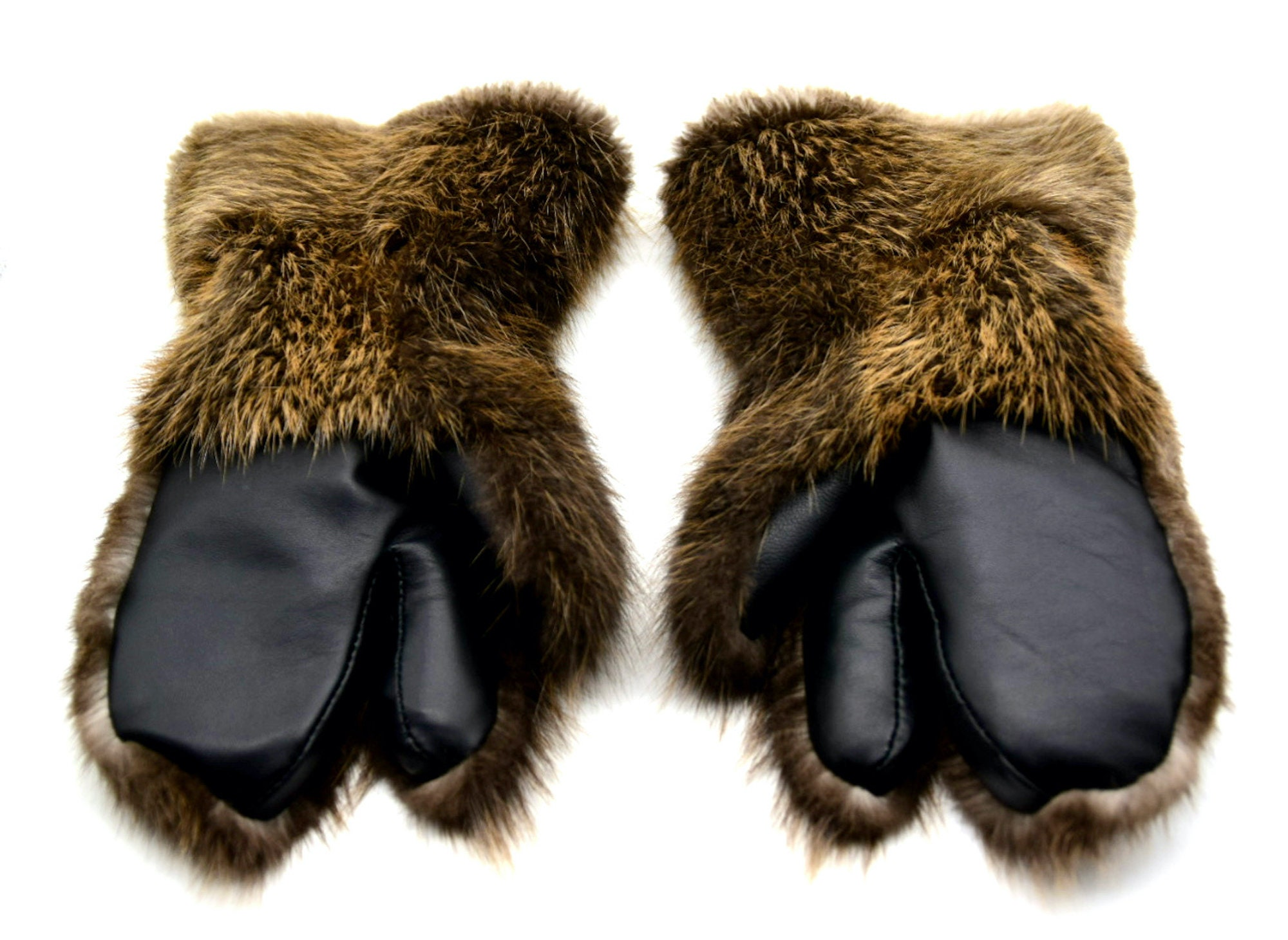 Long winter beaver fur men/'s mittens