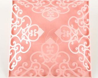 Four Fold Wedding Invitations Laser Cut SVG Lace Flower Pattern Cards Birthday Baby Shower Rehearsal Dinner Invites Birthday Invites #vc-266