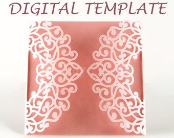 Gate fold Wedding Invitation Square Wedding Bridal Shower gatefold Envelopes Printable Beige Paper 5x5 cut files cricut silhouette #vc-265