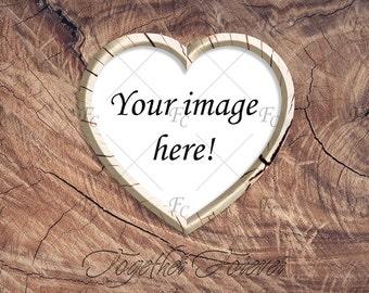 Download Free Digital Wood Photo Frame Mockup Heart Frame Mockup Love Mockup Valentine Clipart Valentine Frame Valentines Day Card Digital Download PSD Template