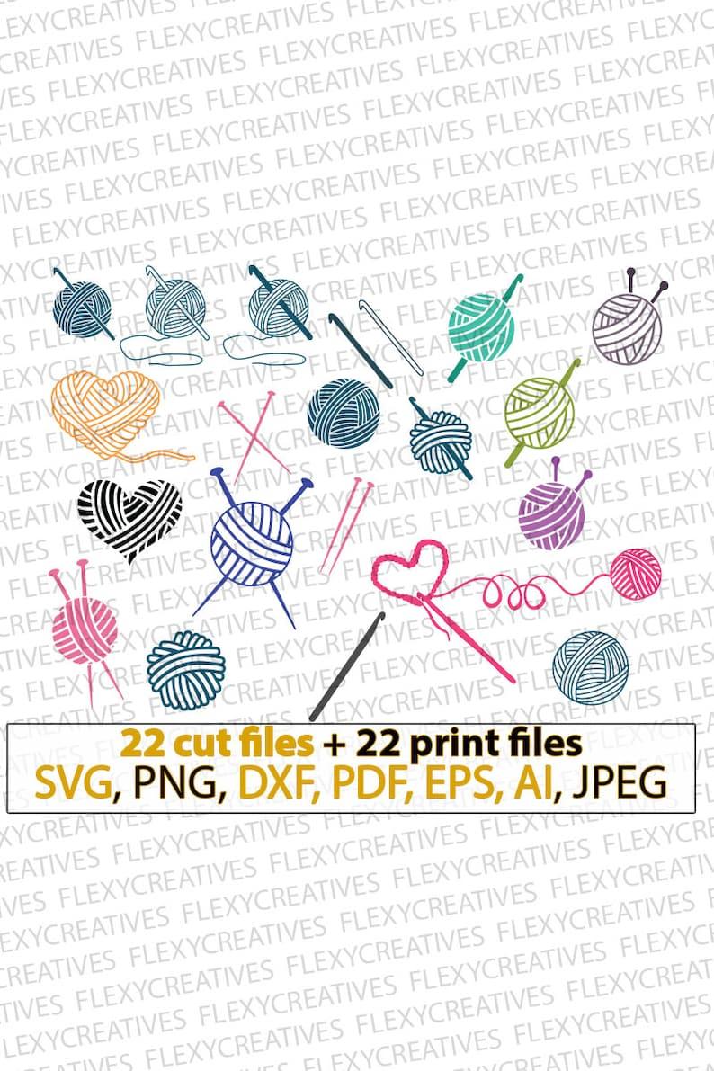 Crochet svg knit svg knitting svg yarn svg yarn ball image 0
