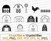 Barn svg, farm svg, farming clipart, decal, stencil, vinyl, iron on, silhouette, cricut files, Cut Template File, png, DXF, pdf, EPS vc-120
