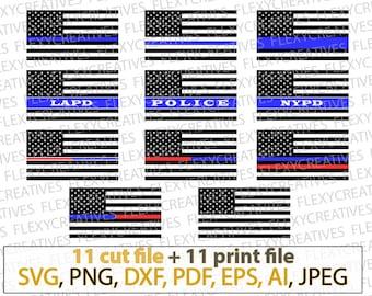 Thin blue line SVG bundle, police officer, Lapd, Nypd, blue line flag, Law enforcement, patriot, security,  clipart, decal, stencil  #vc-140