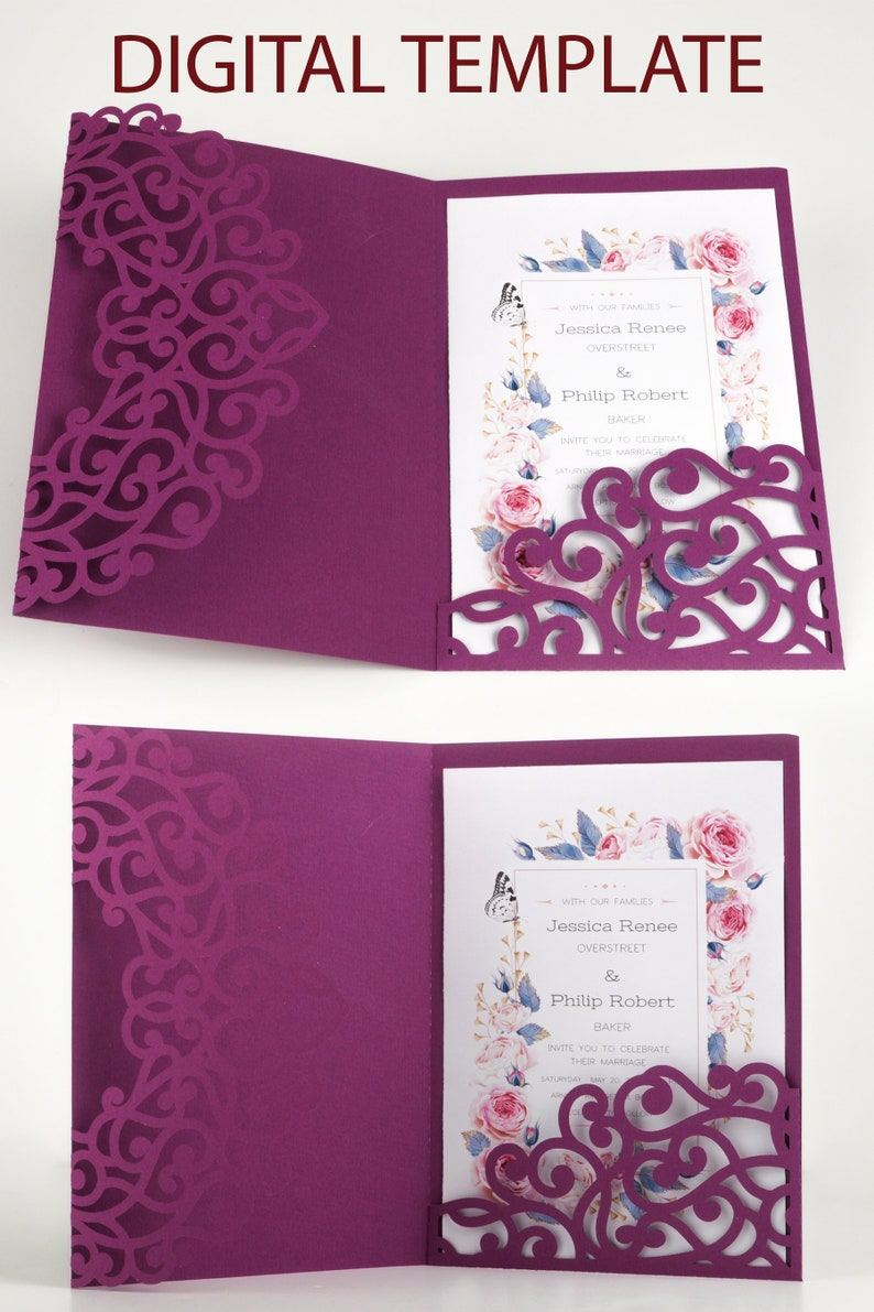 3 Folds Laser Cut SVG Lace Flower Pattern Invitations Cards image 0
