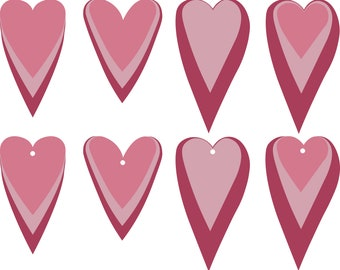 Stack Heart Earrings SVG shape Hearts Valentine Pendant svg Jewelry Laser Cuttable Template Commercial Use Cut File, png DXF pdf #vc-260
