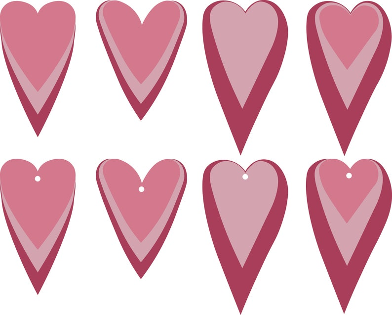 Stack Heart Earrings SVG shape Hearts Valentine Pendant svg image 0