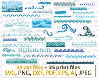 Waves SVG, Sea waves, Ocean waves bundle, marine, ripple, party, cricut cut file  clipart clip art Silhouette FlexyCreatives #vc-131