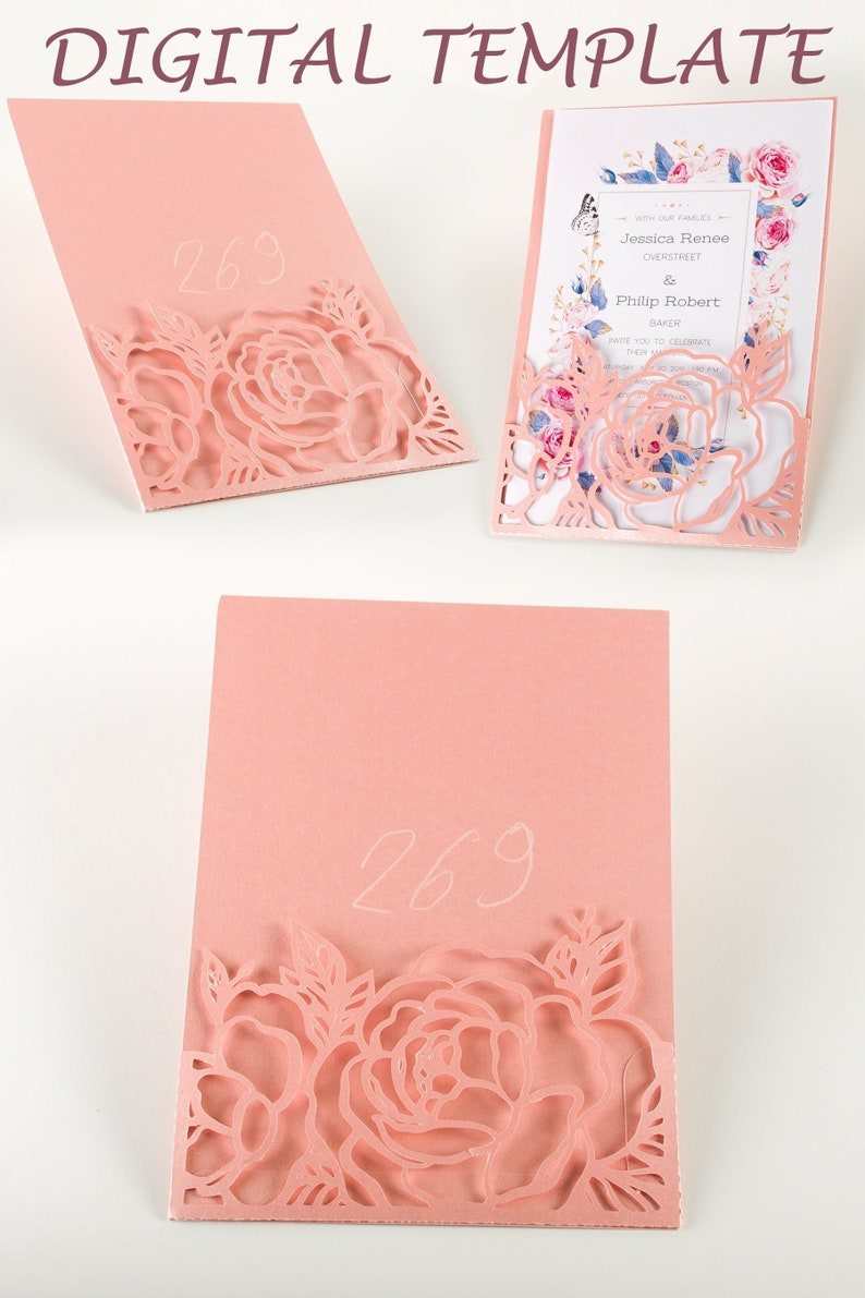 Peony Flowers 5x7 lace pocket wedding invitations DIY image 0