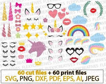 Unicorn kit SVG, Unicorn bundle, Unicorn horn, Unicorn Head, face, eyelashes, ears, create your unicorn, party, bows, rainbow cricut #vc-121