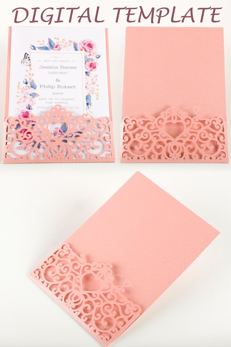 5x7 lace pocket wedding invitations do it yourself pocketfold image 0