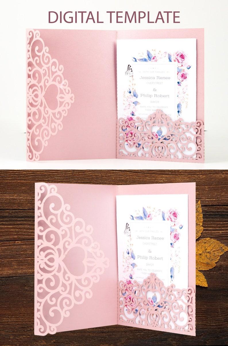 Tri Fold Wedding Invitation Pocket Envelope SVG Template 5x7 image 0