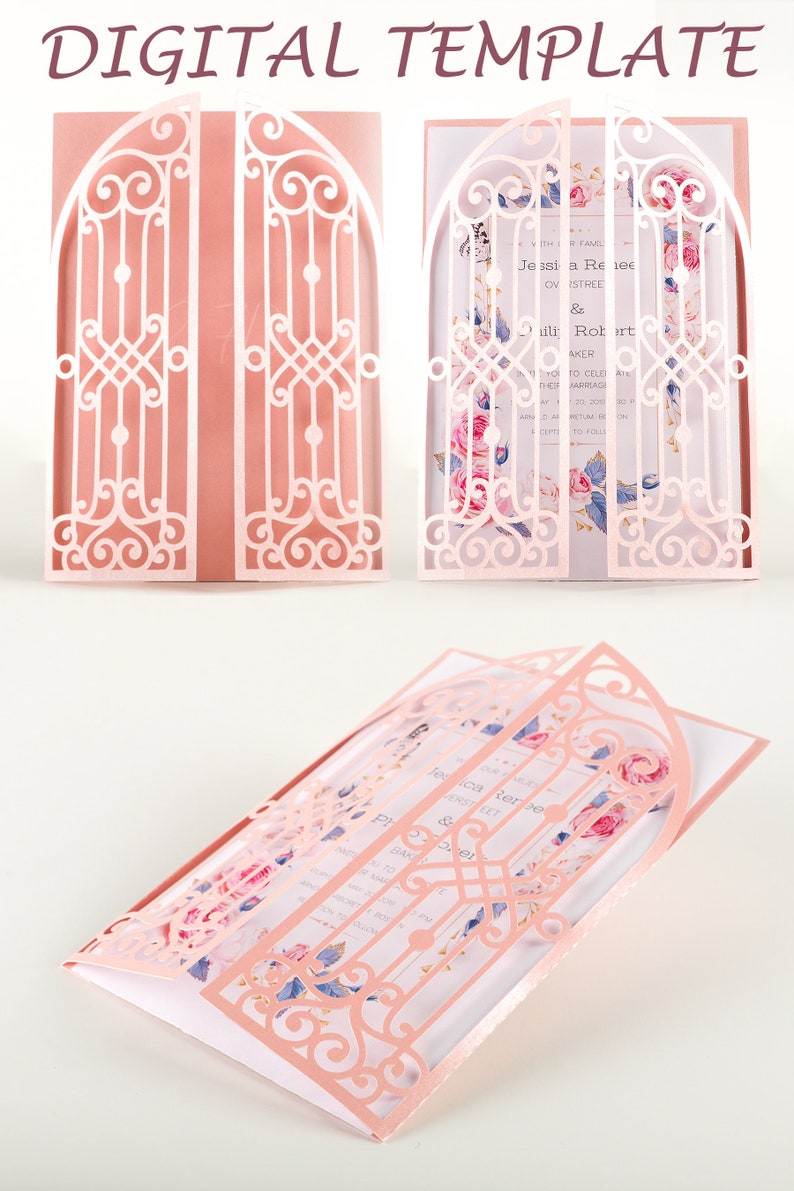 5x7 gatefold wedding invitations laser cut files card template image 0