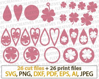 Shamrock Earring SVG, Tear Drop, Pendant svg, clover, Leather Earring Jewelry Laser Cut Template Commercial Use Cut File diy DXF PNG #vc-263