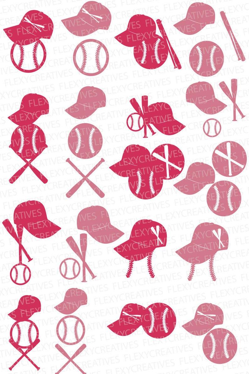 Baseball Multi part Earrings SVG Baseball hat ball bats image 0