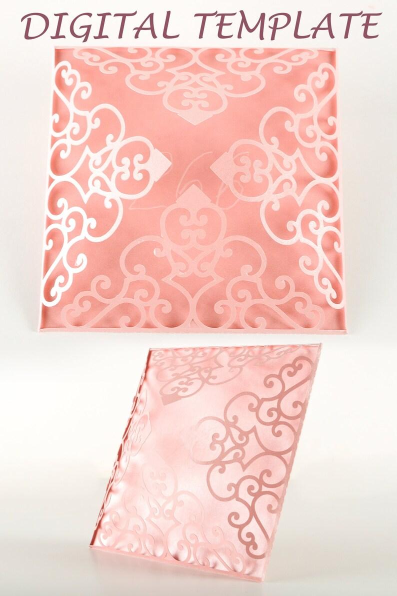 Four Fold Wedding Invitations Laser Cut SVG Lace Flower image 0