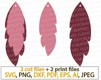 Curly Feather Earring SVG, Pendant svg, Vector Leather Earring Jewelry Laser Cut Template Commercial Use Cut File DXF PNG #vc-280