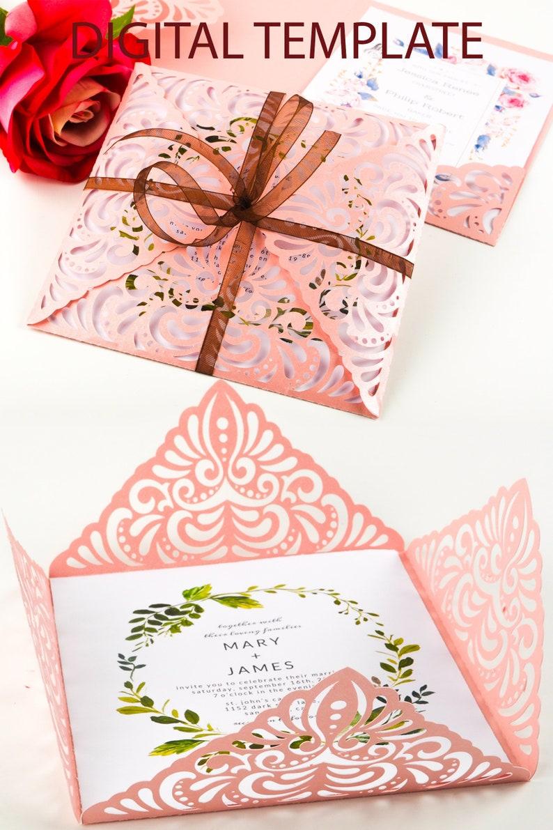 Lace four fold SVG elegant wedding invitations template image 0