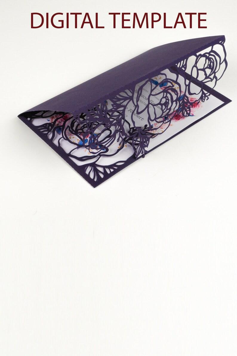 Peony Flowers Wedding Invitation Pocket Tri fold Envelope SVGP image 0