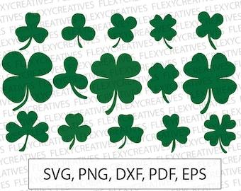 Shamrock SVG, Clover Leaf Vector, Clipart, Cut File, Four Leaf Clip Art, Shamrock, Saint Patricks Day Cricut, png, DXF, pdf, EPS #vc-36