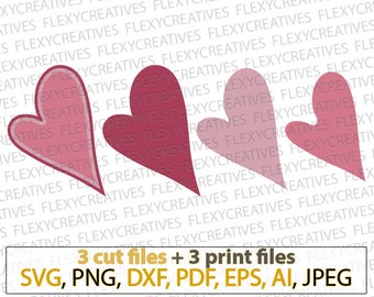 Smooth Heart shape Earrings SVG Hearts No holes Pendant svg Jewelry Laser Cuttable Template Commercial Use Cut File, png DXF pdf #vc-271