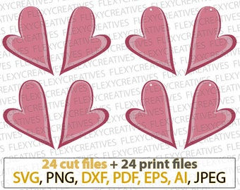 Asymmetric Stack Heart Earrings SVG shape Valentine Pendant svg Jewelry Laser Cuttable Template Commercial Use Cut File, png DXF pdf #vc-262