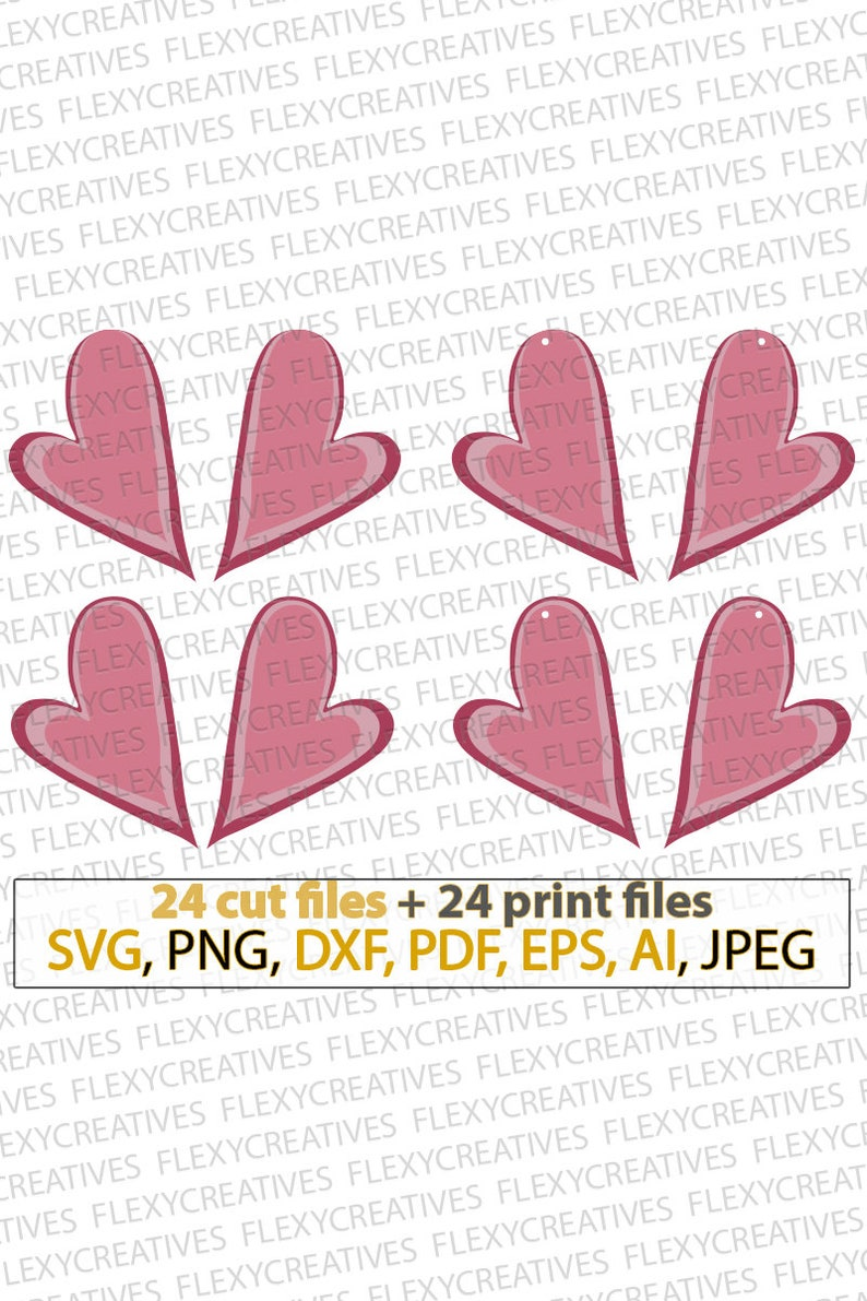 Asymmetric Stack Heart Earrings SVG shape Valentine Pendant image 0