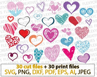 Hearts SVG, Heart svg, doodle, valentine, heart shape svg, love hearts clipart, stencil, decal, iron on, Cut File, png, DXF pdf, EPS #vc-114