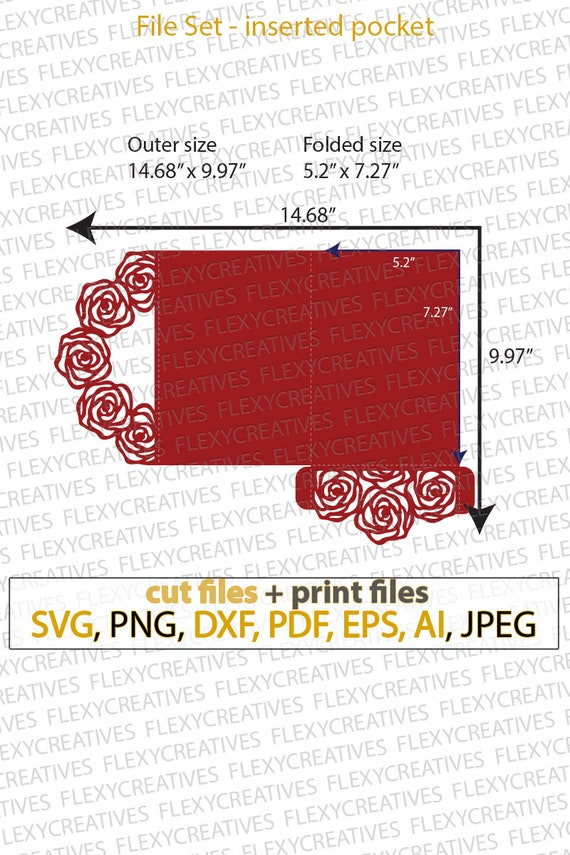 Wedding Invitation Envelope Roses Floral Design Lace For Engagement Celebration Party Marriage Invites Laser Svg Cut Template Files Vc 257