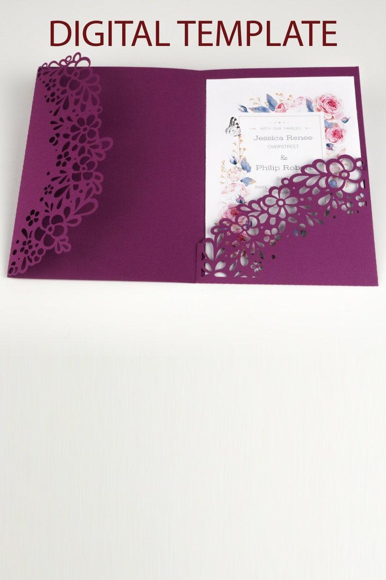 Floral Design Wedding Invitation SVG Pockets for Bridal image 0