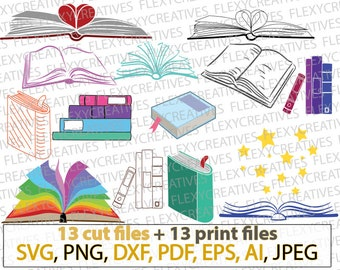 Books SVG Book Library school teacher svg, student stencil, t-shirt design stamp iron on, silhouette commercial use cricut cut files #vc-159