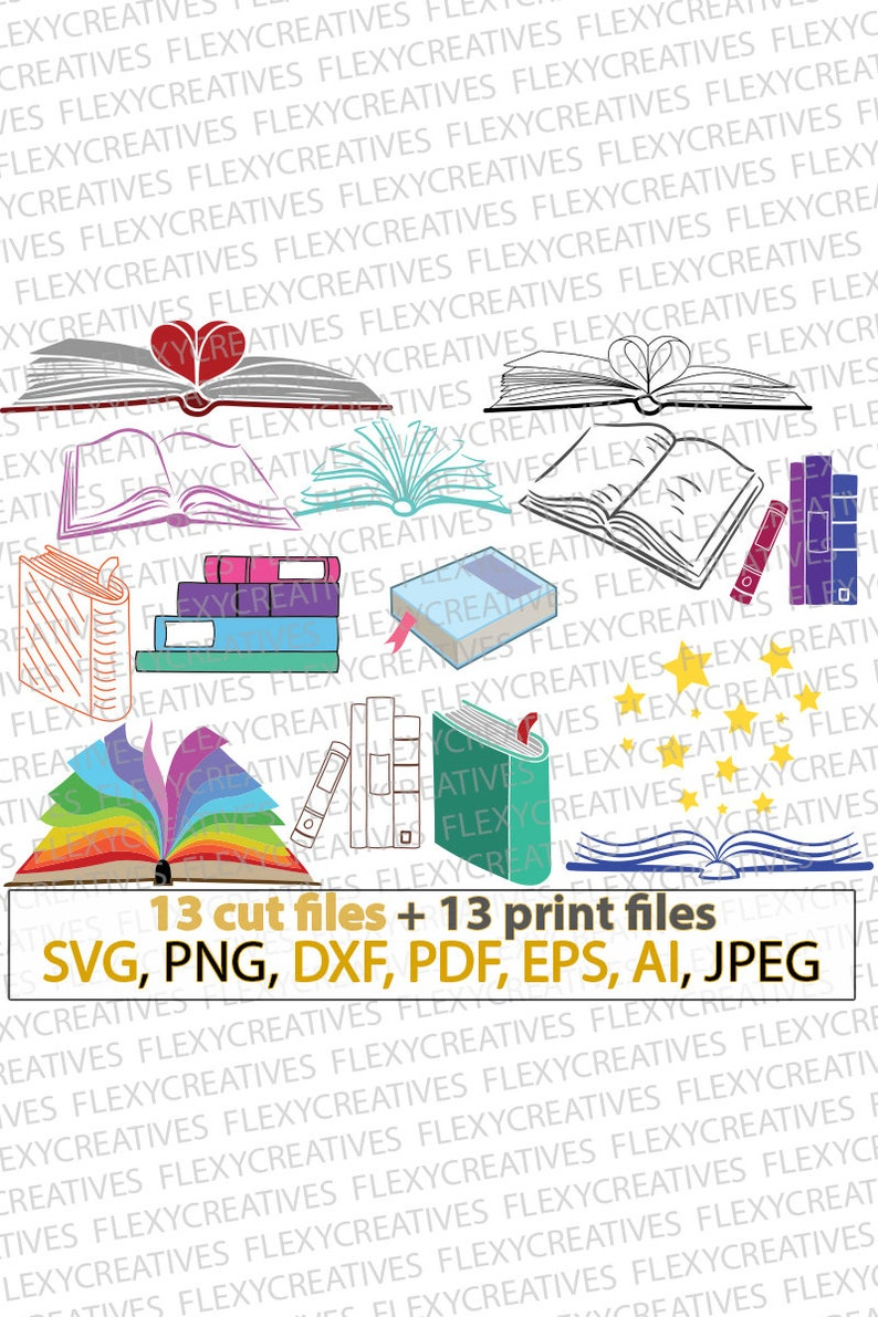 Books SVG Book Library school teacher svg student stencil image 0