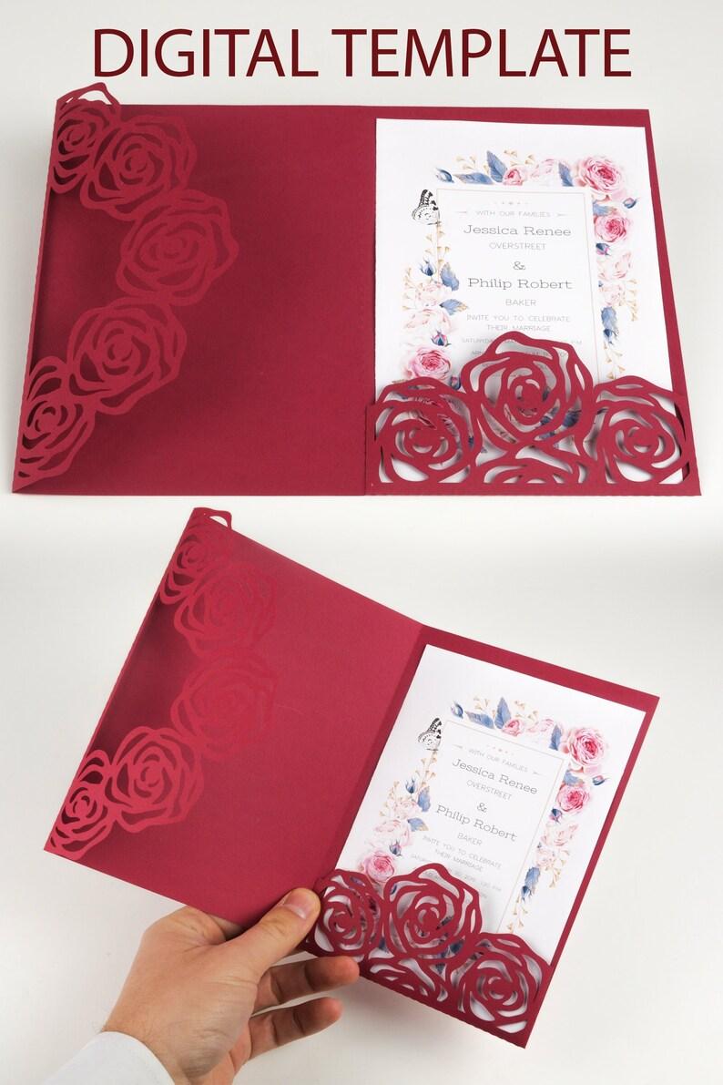 Wedding Invitation Envelope Roses floral design Lace for image 0