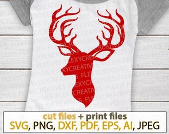 Deer Head SVG, Deer SVG, Southern SVG, Hunting Svg, Deer antler Svg Christmas deer shirt Files for Cricut, Silhouette Cut Files #ts-88