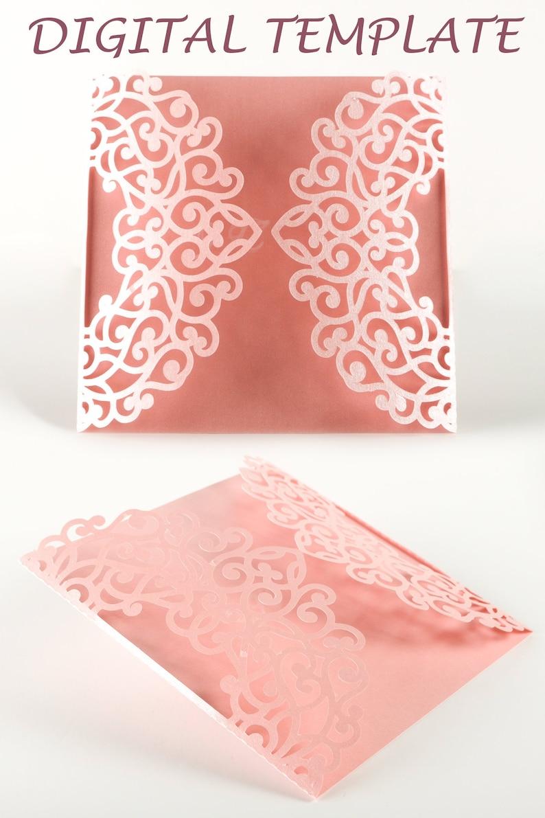 Gate fold Wedding Invitation Square Wedding Bridal Shower image 0