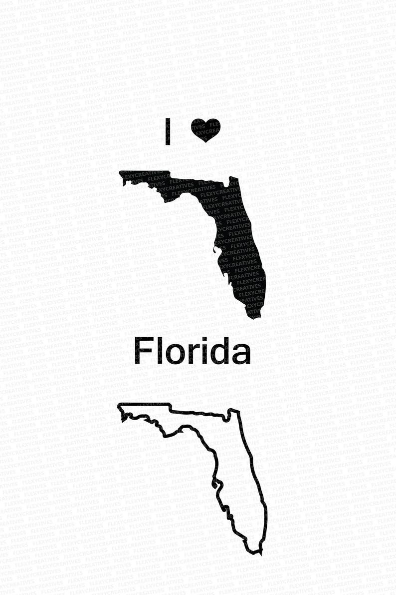 Florida Vector State Clipart Florida Clip Art Florida Map Etsy