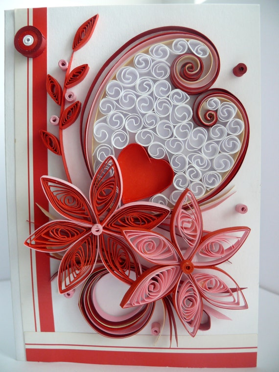 Quilling Card Quilling Quilled Valentines Day Card Etsy