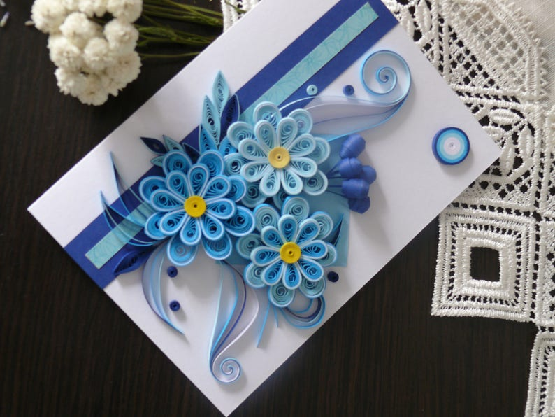 handmade card greeting card wedding card 3D quilled Birthday quilling card beautiful. gift for woman quilling card nice blue flower