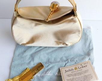 Judith Leiber Gold Satin Runway Swarovski Crystals Handbag w/accessories bag box