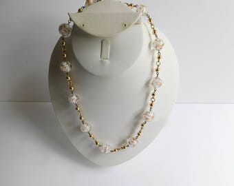 Vintage Clear Glass Gold Metallic Lamp Work Beaded Gold Plated Links Necklace 18
