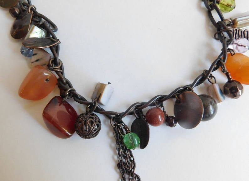 Estate Copper Link Necklace Polished Stone Abalone Shell Charms Necklace 16
