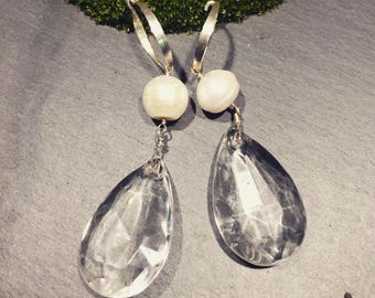 Antique Crystal drop earrings with South Sea Pearls