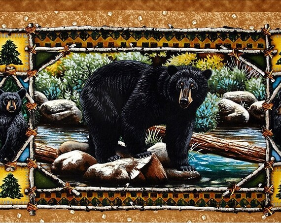 Black Bear Rare Out of Print Quilting Treasures Fabric Panel