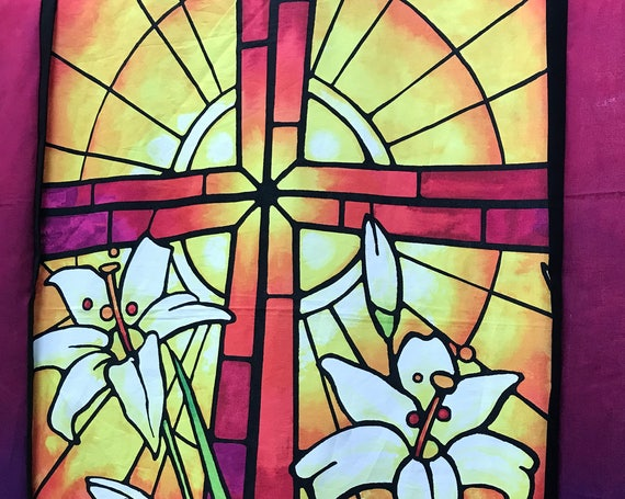 "Easter ""REJOICE"" Cross Quilt Top Stained Glass Spring Christian Religious"